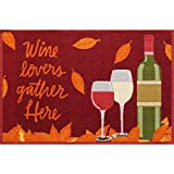 Harvest Season Accent Printed Area Rug, Nonslip, 'Wine Lovers Gather Here'