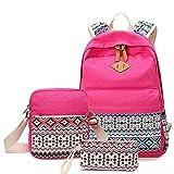 Women bags Backpack Girl School Fashion Shoulder Bag Rucksack Canvas Travel bags, Rose backpack+Messenge Bag
