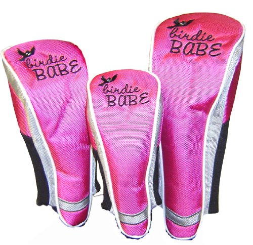 Birdie Babe Golf Club Head Covers for Women Hot Pink Set of 3