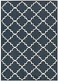Mohawk Home 11836 405 060084 Soho Fancy Trellis Geometric Lattice Printed Area Rug, 5'x7', Navy