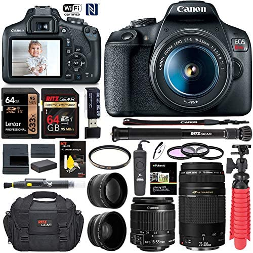 Canon EOS Rebel T7 DSLR Camera (Rebel T6 Successor) 18-55mm f/3.5-5.6 IS III, EF 75-300mm III, 58mm Professional Telephoto & Wide Angle Lens, 64GB U3, Canon Case, Spare Battery & More