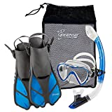 Seavenger Diving Dry Top Snorkel Set with Trek Fin, Single Lens Mask and Gear Bag, L/XL - Size 9 to 13, Gray/Clear Blue