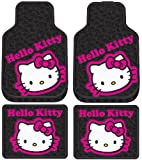 Hello Kitty Collage Hot Pink Sanrio Front & Rear Car Truck SUV Seat Rubber Floor Mats Set - 4PC