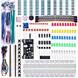 ELEGOO Upgraded Electronics Fun Kit w/Power Supply Module, Jumper Wire, Precision Potentiometer, 830 tie-Points Breadboard for Arduino, STM32