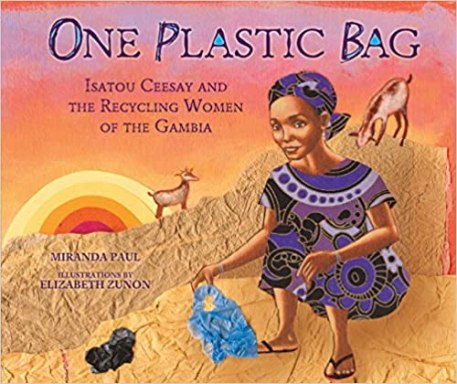A book cover image of an African woman sitting on a concrete ground.  There are goats on the wall behind her.  she is wearing black flip flops and a purple and black dress.