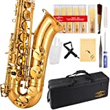 Glory Gold Laquer B Flat Tenor Saxophone with Case,10pc Reeds,Mouth Piece,Screw Driver,Nipper. A pair of gloves, Soft Cleaning Cloth.