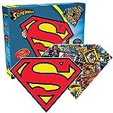 Aquarius Superman Logo 600 Piece 2 Sided Diecut Shaped Jigsaw Puzzle