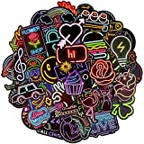 Waterproof Vinyl Stickers Pack for Laptop Water Bottle Back to School Party Supplies(50Pcs Neon Style)