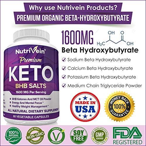 Nutrivein Keto Diet Pills 1600mg - Advanced Ketogenic Diet Supplement - BHB Salts Exogenous Ketones Capsules - Effective Ketosis Best Keto Diet, Mental Focus and Energy, 60 Capsules 10