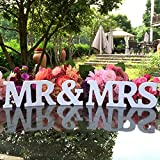 DGQ MR & MRS Wooden Letters for Wedding Table Signs - Vintage Style Wooden DIY Decor for Wedding Decoration (3.5-Inch, White)