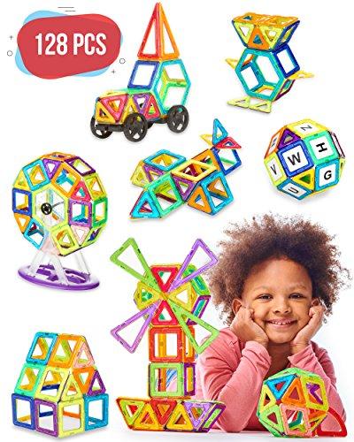 Magnetic Blocks - 128 pcs Large Set & Storage Box - 3D Building Educational Toys
