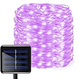 Aluvee Solar Copper Wire String Light,50ft/150LED Waterproof Outdoor Garden Decoration Copper Wire Lighting Christmas Lamp Wedding Party Tree Xmas Decoration Tree Xmas (Purple)