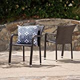 GDF Studio Dylan Outdoor Wicker Armed Aluminum Framed Stack Chairs (Set of 2) (Multi-Brown)