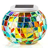 Solar Table Lights for Outdoor/ Indoor Decorations, Color Changing Mosaic Solar Powered Glass Ball Led Lights, Ideal Gifts-5.12 Inch in Diameter, 4.13Inch