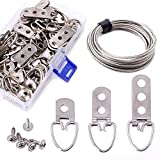 ‿ Swpeet 60 Pcs Assorted Heavy Duty D Ring Picture Hangers Kit with Picture Hanging Wire, Frame Picture Hangers with Screws for Picture Hanging Solutions - One Hole/Double Holes/Three Holes