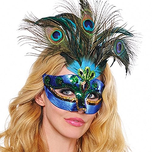 Amscan Womens Peacock Feather Mask (365712) Halloween Costume Accessory