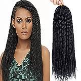 "Befunny 8Packs 18"" Senegalese Twist Crochet Hair Braids Small Havana Mambo Twist Crochet Braiding Hair Senegalese Twists Hairstyles For Black Women 20strands/pack(18"", 1B#)"