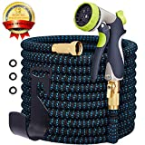 SANCEON Garden Hose Expandable, Durable Flexible Several Layers Latex Water Hose, Super Wear-Resistant 3750D Fabric Cover with Strong Brass Connector and Water 8 Function Zinc Spray Nozzle(50 Feet)