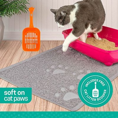 Ruff 'n Ruffus Pets Premium Non-Slip Cat Litter Mat + FREE SCOOPER | 3 Sizes Available | Phthalate Free | Scatter Control | Soft on Sensitive Kitty Paws | Easy to Clean | Durable