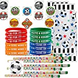 Soccer Party Favors for 24 - Soccer Pencils (24), Soccer Wrist Bands (24), Soccer Tattoos (72), Soccer Theme Gift Bags (24) and Happy Birthday Sticker (Total 145 Pieces) (Clear Bag)