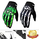 Cycling Gloves Mountain Bike Gloves Bicycle Riding Gloves Touchscreen Motorcycle Gloves Full Finger Workout Gloves Skeleton Gloves for Men and Women (Green, Large)