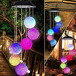 BINWO Solar Wind Chime,Color Changing Outdoor Waterproof LED Crystal Ball Wind Chime Solar Powered Colorful Light for Home/Party/Yard/Festival Decoration/Valentines Gift (Crystal Ball)