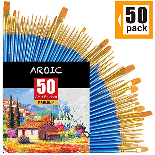 AROIC Paintbrushes Set, 50 pcs Nylon Hair Brushes for Acrylic Oil Watercolor Artist Professional Painting Kits, Pack