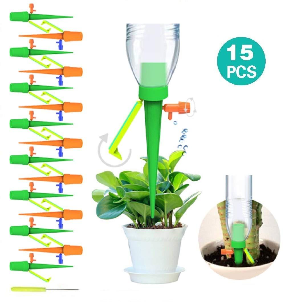 15 Picos de riego automático para Plantas, con Sistema de riego de Plantas de liberación Lenta con Interruptor de válvula de Control para Plantas de Interior y Exterior.