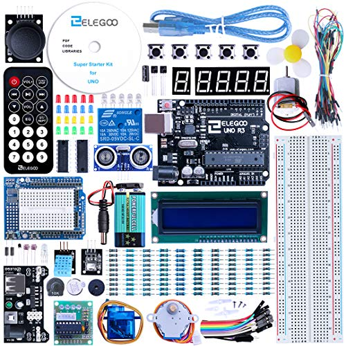 ELEGOO UNO Project Super Starter Kit with Tutorial, UNO R3 Controller Board, LCD1602, Servo, Stepper Motor, Relay etc. for Arduino Projects