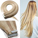 20' 50g Remy Tape in Human Hair Extensions 20pcs Highlight #18/613 Balayage Straight Hair Seamless Skin Weft Invisible Double Sided Tape Two Tone Sandy Beige Mix Bleach Blonde