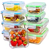Glass Food Storage Containers [9-Piece] - Leakproof Glass Meal Prep Containers with Locking Lids for Pantry Organization and Storage - Microwave, Freezer & Dishwasher Lunch Containers