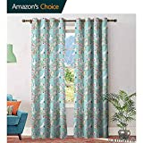 Flowers Bathroom curtainsWatercolor Art Style Flying Crane Birds with Pink Sakura Cherry Blossoms Exotic Blackout Window Curtains W84 x L108 Multicolor