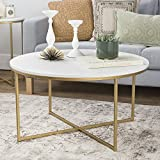WE Furniture 36' Coffee Table with X-Base - Faux Marble/Gold