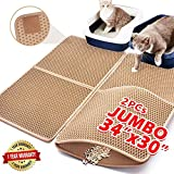 Upgraded Cat Litter Mat Extra Large 34'x30', Anti-urine Cat Litter Mat Litter Trapping,Cat Mats for Litter Box,Litter Mat Catcher, Kitty Litter Box Mat Double-Layer Waterproof PU Edge (Can Be Spliced)