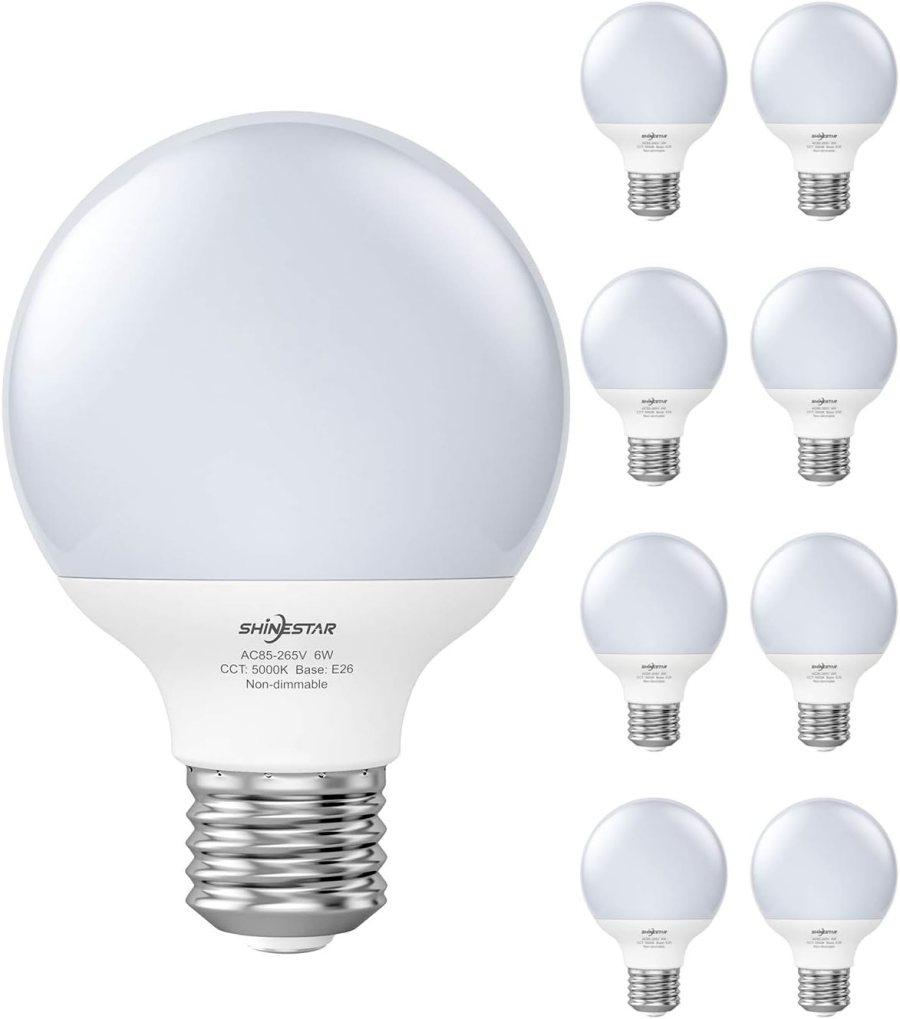 SHINESTAR 8-Pack G25 LED Globe Light Bulbs for Bathroom