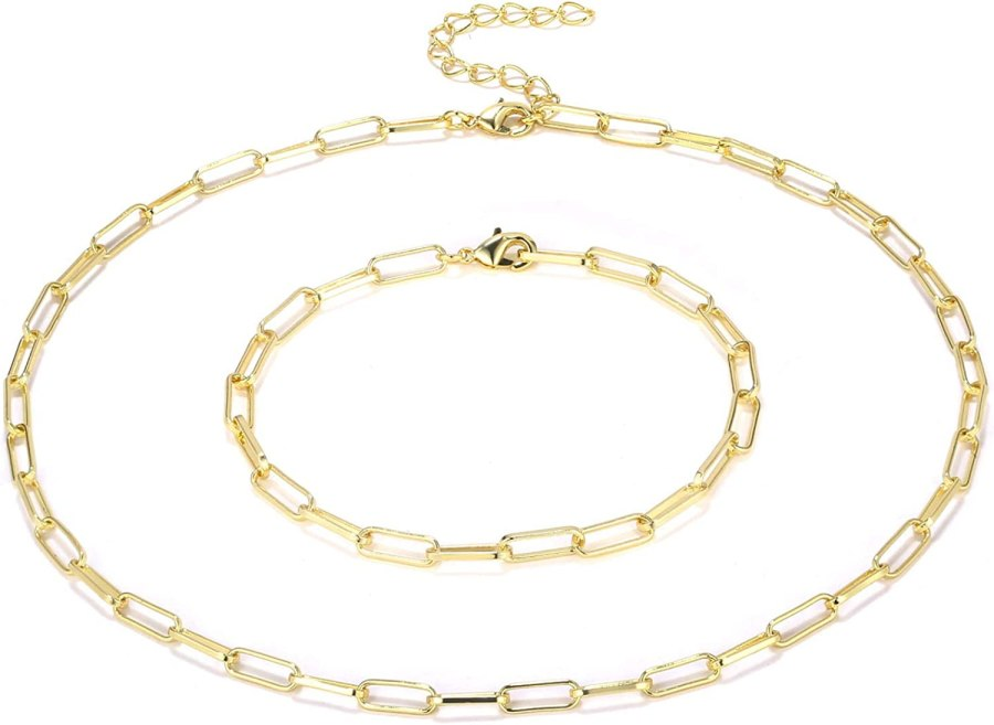 BOUTIQUELOVIN 14K Gold Plated Dainty Paperclip Link Chain Necklace for Women Girls
