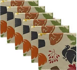 Satin Napkins Set of 6, Happy Thanksgiving Day Seamless