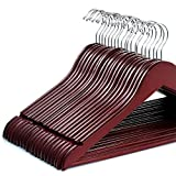 ZOBER Solid Cherry Wood Suit Hangers -20 Pack - with Non Slip Bar and Precisely Cut Notches - 360 Degree Swivel Chrome Hook - Cherry Finish Super Sturdy and Durable Wooden Hangers