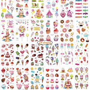 Children Tattoos Temporary Fake Stickers kits, 24 sheets Princess Tattoos for School Rewards Family Fun Games,Kids Gifts Party Decorations Non-Toxic Pink Ice Cream Cake Theme 61vV72VkjZL