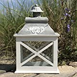 """The French Country Style Rustic Lantern, Chateaux Style Roof, Raised Medallion, Gray Distressed Surface, Galvanized Metal Reflective Bottom, Glass, Wooden Cross Post Panels, 13 7/8"""" Tall"""""""