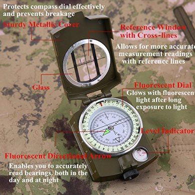 Sportneer-Military-Lensatic-Sighting-Compass-with-Carrying-Bag-Waterproof-and-Shakeproof-Army-Green