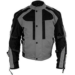 Xelement Momentum Mens Black/Grey Tri-Tex Armored Motorcycle Jacket