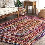 nuLOOM Hand Braided Tammara Cotton Area Rug, 7' 6' x 9' 6', Multi