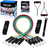 Fitness Insanity Resistance Band Set - Include 5 Stackable Exercise Bands with Waterproof Carrying Case, Door Anchor Attachment, Legs Ankle Straps and Exercise Guide eBook - 100% Life Time Guarantee