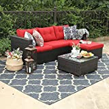 PHI VILLA Outdoor Rattan Sectional Sofa- Patio Wicker Furniture Set (3-Piece, Red)