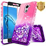 NageBee Compatible Huawei Ascend XT 2 (H1711) / Elate 4G LTE Case w/[Full Coverage Tempered Glass Screen Protector], Glitter Liquid Quicksand Flowing Sparkle Shiny Bling Diamond Cute Case -Pink/Purple