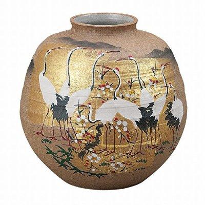 Jpanese traditional ceramic Kutani ware. Ikebana flower vase. Gold leaf cranes. With wooden box. ktn-K5-1313
