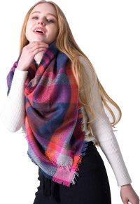 新品 Women's Soft Plaid Winter Scarf - Infinity Large Warm Shawl Tartan Pashmina Fashion Blanket Big Travel Wrap For Women (A-Rose Red, One Size)