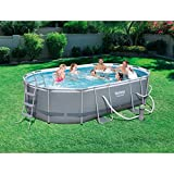 Power Steel 16' x 10' x 42' Oval Frame Swimming Pool Set with Filter Pump, Ground Cloth, Pool Cover and Ladder