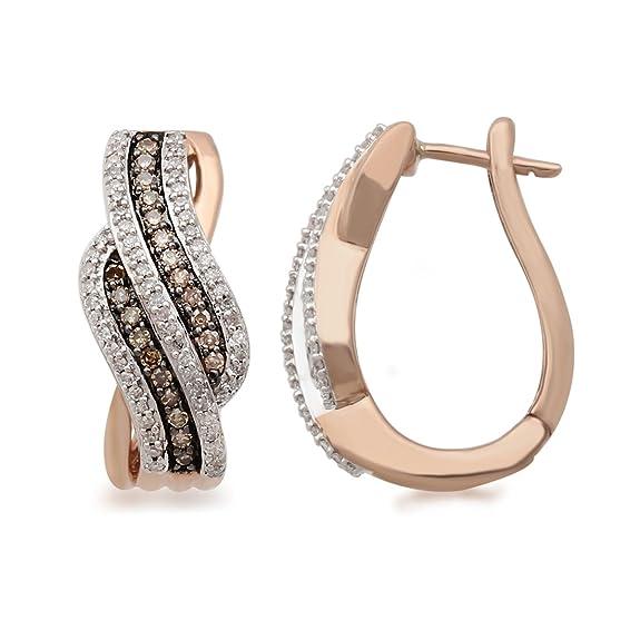Bevilles 9ct Rose Gold Cognac Earrings with 0.50ct of Diamonds Hoop
